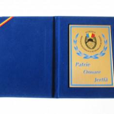 PLACHETA(13 X 10 CM) ASOCIATIA NATIONALA A VETERANILOR DE RAZBOI DIN ROMANIA - Ordin