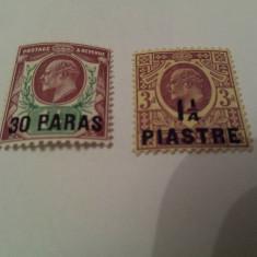 Anglia/colonii/levant 1910-11 reg. edward / 2 val. MH / 11 euro, Nestampilat