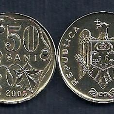 MOLDOVA 50 BANI 2005 [1] XF++, livrare in cartonas, Europa, Fier