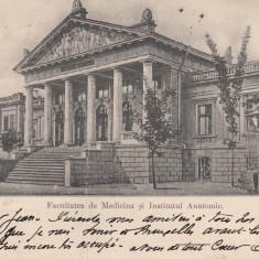 IASI, FACULTATEA DE MEDICINA SI INSTITUTUL ANATOMIC, CLASICA, CIRC. 1904 - Carte Postala Moldova pana la 1904, Circulata, Printata
