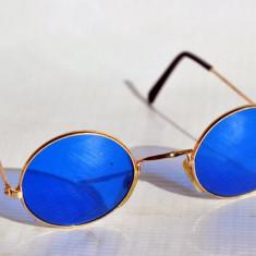 Ochelari John Lennon, Unisex, Albastru, Rotunzi, Metal, Fara protectie