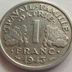 Moneda 1 Franc - FRANTA, anul 1943 *cod 2830 Allu, Europa, Aluminiu