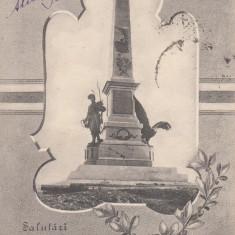 SALUTARI DIN TULCEA MONUMENTUL COMEMORATIV AL ALIPIRII DOBROGEI CIRCULAT 1908 - Carte Postala Dobrogea pana la 1904, Circulata, Printata