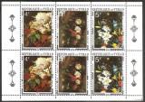1971 CHAD CIAD Picturi Flori bloc de 2x 3 Sc. 236A= 11$ Rubens, Van Os Bruegel, Arta, Nestampilat
