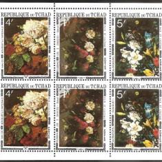 1971 CHAD CIAD Picturi Flori bloc de 2x 3 Sc. 236A= 11$ Rubens, Van Os Bruegel