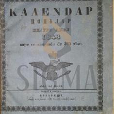 CALENDAR POPULAR PENTRU ANUL 1843, BUCURESCI