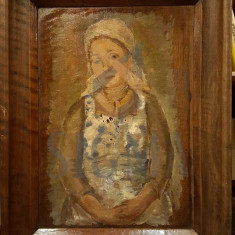 TABLOU, PORTRET DE FEMEIE, ULEI/LEMN - Pictor roman