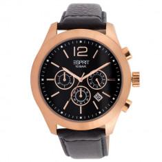 Ceas ESPRIT Misto chronograph, placat cu aur - Ceas barbatesc Esprit, Casual, Quartz, Piele, Cronograf