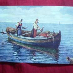 Ilustrata - Barca cu 2 femei la vasle - Dalmatia, color, inc.sec.XX, Necirculata, Printata