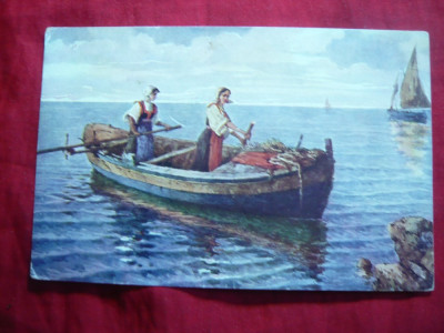 Ilustrata - Barca cu 2 femei la vasle -  Dalmatia , color , inc.sec.XX foto