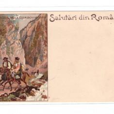 CARTI POSTALE VECHI ROMANIA-SALUTARI DIN ROMANIA-DEFILEUL DAMBOVICIOAREI. - Carte Postala Muntenia pana la 1904, Necirculata, Printata