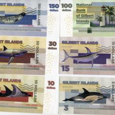 !!! GILBERT ISLAND - SET 3 10 15 30 100 150 DOLLARI 2015 - UNC