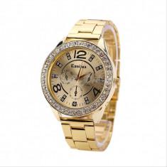 Ceas dama Geneva FASHION cadran auriu cristale bratara metalica + cutie cadou, Otel, Analog