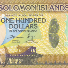 Bancnota Insulele Solomon 100 Dolari (2015) - PNew UNC (hibrid = hartie+polimer)