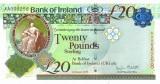 IRLANDA DE NORD █ bancnota █ 20 Pounds █ 2013 █ P-88 █ BANK OF IRELAND █ UNC █