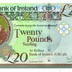 IRLANDA DE NORD █ bancnota █ 20 Pounds █ 2013 █ P-88 █ BANK OF IRELAND █ UNC █ - bancnota europa
