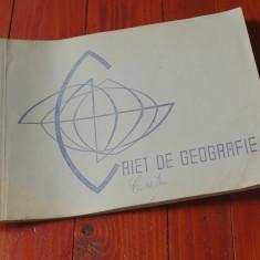 Caiet de geografie perioada comunista cu harti de mana desenate color !!!