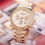Ceas dama tip Geneva gold curea metalica cristale + cutie simpla cadou, Casual, Quartz, Otel, Analog