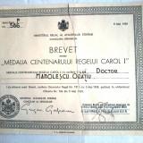 Brevet Medalia Centenarul Regelui Carol I - restaurata, a fost rupta