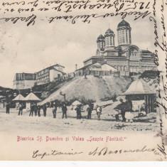 CRAIOVA, BISERICA SF. DUMITRU SI VALEA ''SEAPTE FANTANI'', CLASICA, CIRC. 1903 - Carte Postala Oltenia pana la 1904, Circulata, Printata