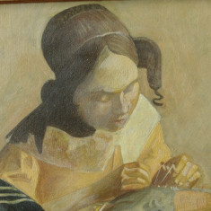 Tablou rama din lemn - reproducere pictura - Dantelareasa / Vermeer - semnat !!!