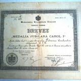 Brevet Medalia Jubiliara Carol I, tip Civili - Medalii Romania