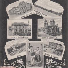 CRAIOVA, SALUTARI DIN CRAIOVA, PORT POPULAR, GARA, ...TCV, CIRC. MAI ''906 - Carte Postala Oltenia 1904-1918, Circulata, Printata