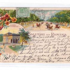 CARTI POSTALE VECHI ROMANIA-SALUTARI DIN ROMANIA-1903-CIRCULATA-BUCURESTI - Carte Postala Muntenia pana la 1904, Printata