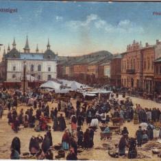 #1693- Romania, Maramarossziget, Sighetu Marm. c.p. circ. 1917: Piata, animat - Carte Postala Maramures 1904-1918, Circulata, Fotografie, Sighetu Marmatiei