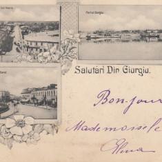 SALUTARI DIN GIURGIU STR. STEFAN CEL MARE PORTUL GIURGIU PTA.CAROL I CIRC.1899 - Carte Postala Muntenia pana la 1904, Circulata, Printata