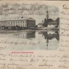 #1710- Romania, Belenyes, Beius carte postala circulata 1900: Gimnaziul - Carte Postala Crisana pana la 1904, Fotografie