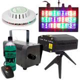 NOU! SET 4 LUMINI DISCO,MASINA FUM,UFO LED,STROBOSCOP,LASER 3D+LICHID BONUS.