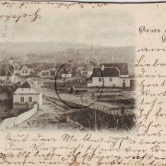 Romania, Gross -Schenk, Nagysink, Cincu carte postala circulata 1899: Panorama - Carte Postala Transilvania pana la 1904, Fotografie, Brasov