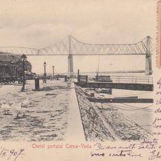 CERNAVODA, CHEIUL PORTULUI CERNA - VODA, CIRCULATA FEB. ''07 - Carte Postala Dobrogea pana la 1904, Printata