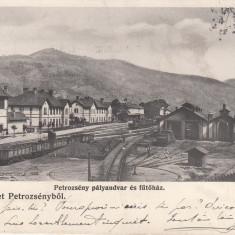 PETROSANI, SALUTARI DIN PETROSANI, GARA, CLASICA, TREN, CIRCULATA DEC. 1906 - Carte Postala Transilvania pana la 1904, Printata