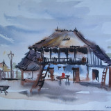 Casa taraneasca in Comana - Giurgiu, acuarela veche 1957 - Pictor roman, Nonfigurativ, Realism