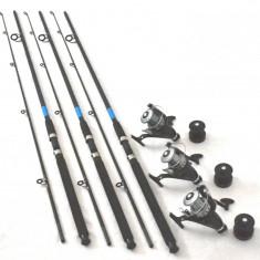 3 lansete OXYGEN SELECT 2, 7m actiune 60-120g cu 3 mulinete DMR 60 cu 5 rulmenti - Set pescuit