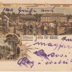 SALUTARI DE LA BAILE FELIX, LITOGRAFIE, CIRCULATA AUG. 1899 - Carte Postala Crisana pana la 1904, Printata