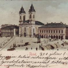 #1719- Romania, Arad c.p. circul. 1901: Piata Tokoly, magazine evreiesti, animat - Carte Postala Crisana pana la 1904, Circulata, Fotografie