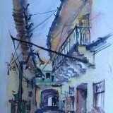 Curte veche in Cluj, acuarela veche pictata in anii 1950, pictura - Pictor roman, Nonfigurativ, Realism