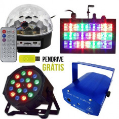 NOU ! SET 4 LUMINI DISCO,BILA LED USB,STROBOSCOP,LASER 3D,PAR LEDURI+BONUS.