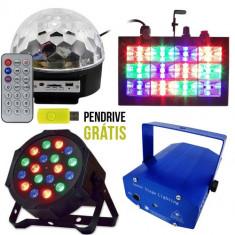 NOU 2016! SET 4 LUMINI DISCO, BILA LED USB, STROBOSCOP, LASER 3D, PAR LEDURI+BONUS. - Lumini club