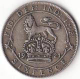 Regatul Unit al Marii Britanii si al Irlandei - 6 Pence 1921 - Argint, Europa