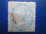 TIMBRE STRAINE ANNA 1856 PE ALBASTRU  VICTORIA INDIA USED, Stampilat