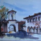 Manastirea din Comana - Giurgiu, acuarela veche din anii 1950 (2) - Pictor roman, Nonfigurativ, Realism