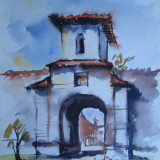 Manastirea din Comana - Giurgiu, acuarela veche 1957 - Pictor roman, Nonfigurativ, Realism