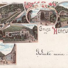 HERCULANE, SALUTARI DIN HERCULANE, LITOGRAFIE, CIRCULATA SEP, ''98 - Carte Postala Banat pana la 1904, Printata, Baile Herculane