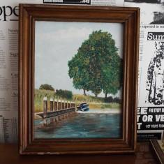 Tablou ulei Canal de Middelburg - Tablou autor neidentificat, An: 1990, Peisaje, Realism