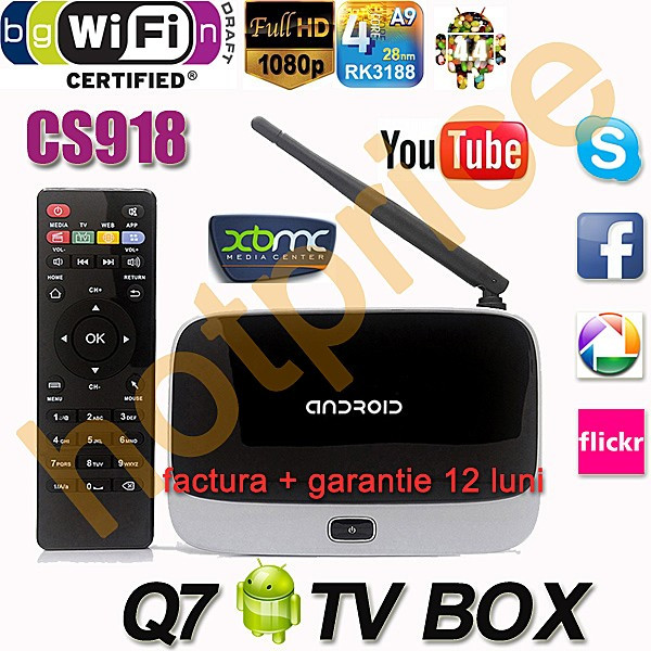 Media Player MINI PC smart TV box FULL HD, 1GB DDR3, 8 GB, Wi-Fi, Android, CS918 foto mare