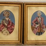 Set 2 tablouri goblen vechi de colectie, rama marosvasarhely - Tapiterie Goblen